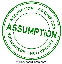 Grunge green assumption word round rubber seal stamp on white background