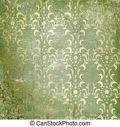 Grunge green background with ancient ornament. Vintage textile