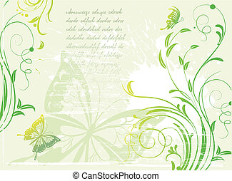 Grunge green background with floral element