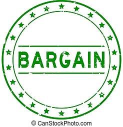 Grunge green bargain word round rubber seal stamp on white background
