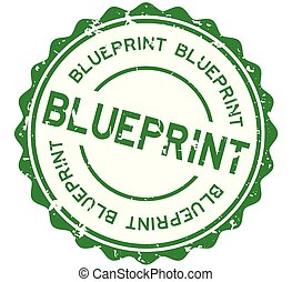 Grunge green blueprint word round rubber seal stamp on white background