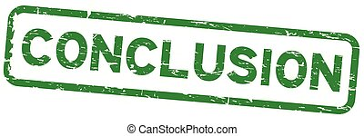 Grunge green conclusion square rubber seal stamp on white background