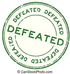 Grunge green defeated round rubber seal stamp on white background