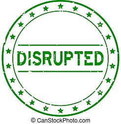 Grunge green disrupted word round rubber seal stamp on white background