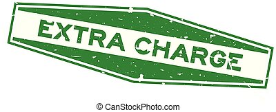 Grunge green extra charge word hexagon rubber seal stamp on white background