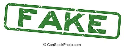 Grunge green fake word square rubber seal stamp on white background