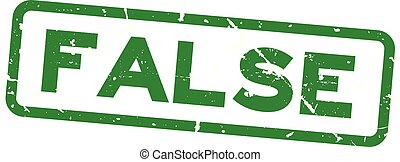 Grunge green false wording square rubber seal stamp on white background