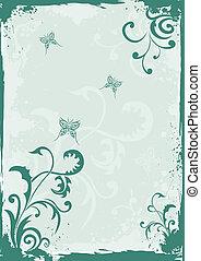 Grunge green floral background - Grunge green floral vector...