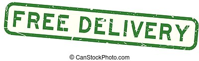 Grunge green free delivery wording square rubber seal stamp on white background