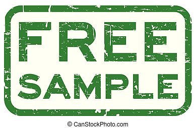 Grunge green free sample square rubber seal stamp on white background
