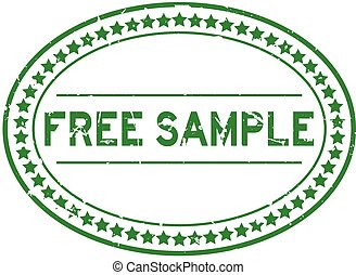 Grunge green free sample word oval rubber seal stamp on white background