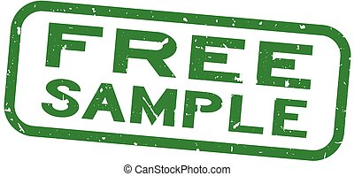 Grunge green free sample word square rubber seal stamp on white background