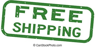 Grunge green free shipping word square rubber seal stamp on white background
