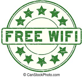 Grunge green free wifi with signal icon round rubber seal stamp