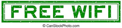 Grunge green free wifi word rubber seal stamp on white background