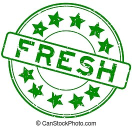 Grunge green fresh word with star icon round rubber seal stamp on white background