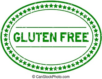 Grunge green gluten free word oval rubber seal stamp on white background