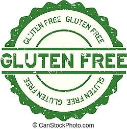 Grunge green gluten free word round rubber seal stamp on white background