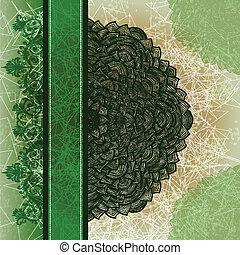 Grunge green greeting card