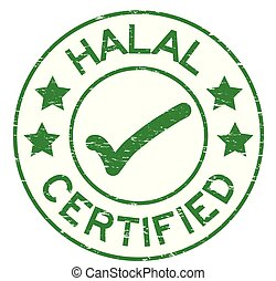 Grunge green Halal certified with mark icon round rubber seal stamp on white background