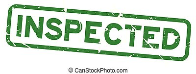 Grunge green inspected wording square rubber seal stamp on white background