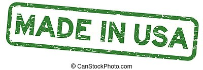 Grunge green made in USA (United States of America) square rubber seal stamp on white background