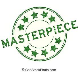 Grunge green masterpiece round rubber stamp on white background