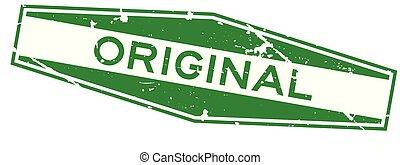 Grunge green original word hexagon rubber stamp on white...