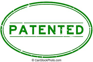 Grunge green patented word oval rubber seal stamp on white background