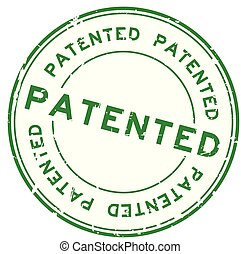 Grunge green patented word round rubber seal stamp on white background