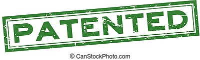 Grunge green patented word square rubber seal stamp on white background