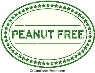 Grunge green peanut free word oval rubber seal stamp on white background