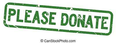 Grunge green please donate wording square rubber seal stamp on white background