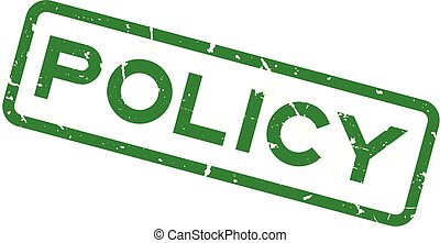 Grunge green policy wording square rubber seal stamp on white background