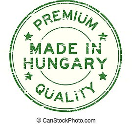 Grunge green premium quality made in Hungary round rubber stamp