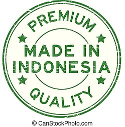 Grunge green premium quality made in Indonesia round rubber stamp