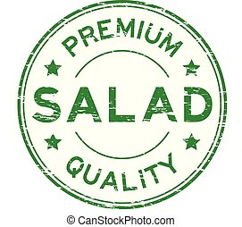Grunge green premium quality salad round rubber stamp