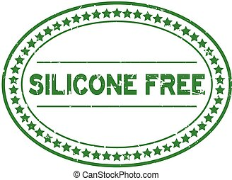 Grunge green silicone free word oval rubber seal stamp on white background