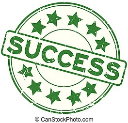 Grunge green success word with star icon rubber seal stamp on white background