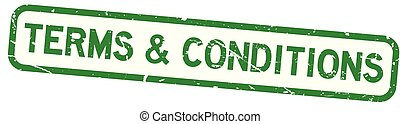 Grunge green terms and conditions square rubber seal stamp on white background