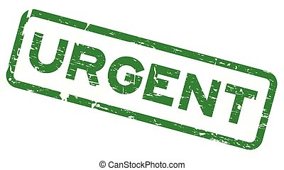 Grunge green urgent square rubber seal stamp on white background
