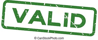Grunge green valid square rubber seal stamp on white background