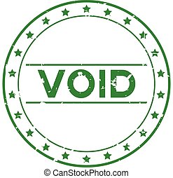 Grunge green void word with star icon round rubber seal stamp on white background
