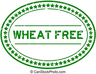 Grunge green wheat free word oval rubber seal stamp on white background