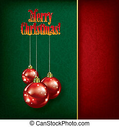Christmas decorations on green background