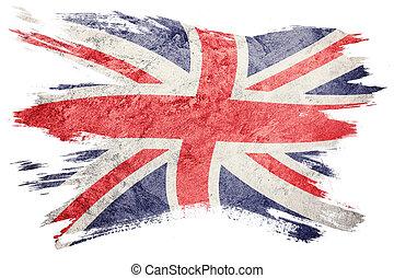 grunge, großbritannien, flag., union jack, fahne, mit, grunge, texture., bürste, stroke.