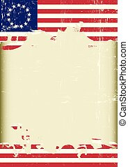 Poster of a grunge betsy ross flag with a frame for your message