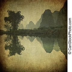 grunge, guangxi, immagine, fiume, porcellana, yulong, ...