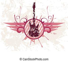 Grunge guitar Vector