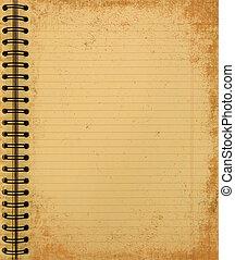 grunge, gul, anteckningsbok